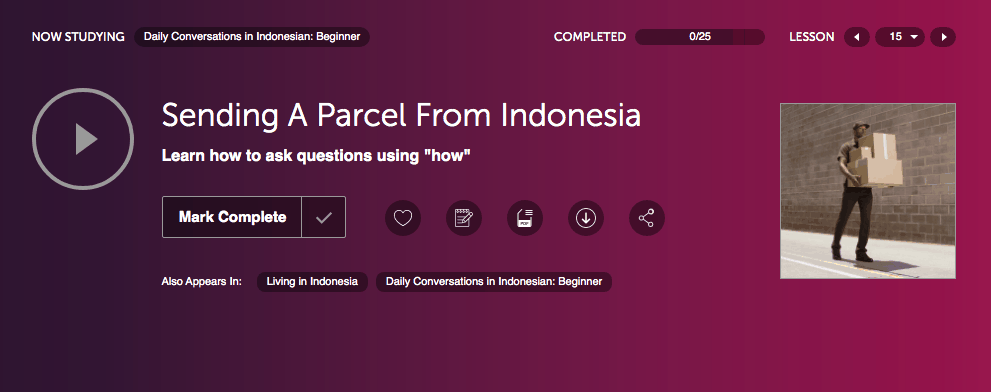 Sending a parcel from Indonesia Podcast lesson