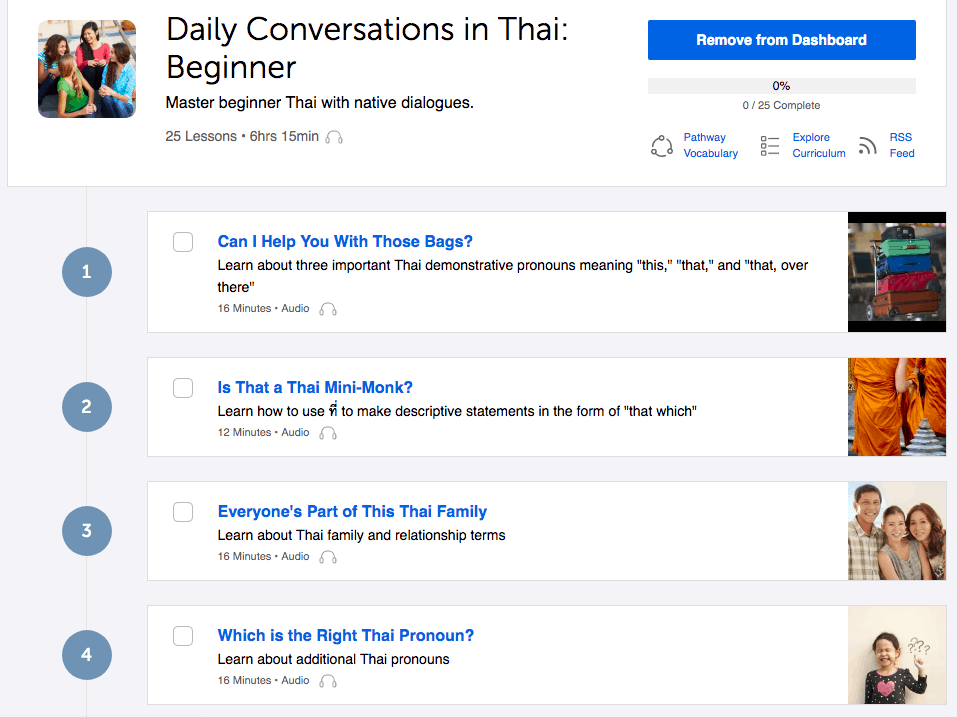 ThaiPod101 Beginner Lessons Screenshot