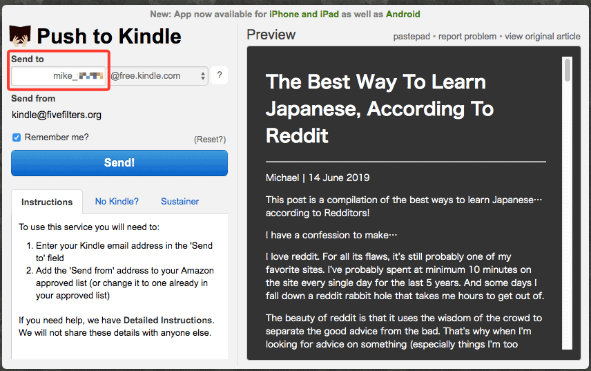 push to Kindle extension