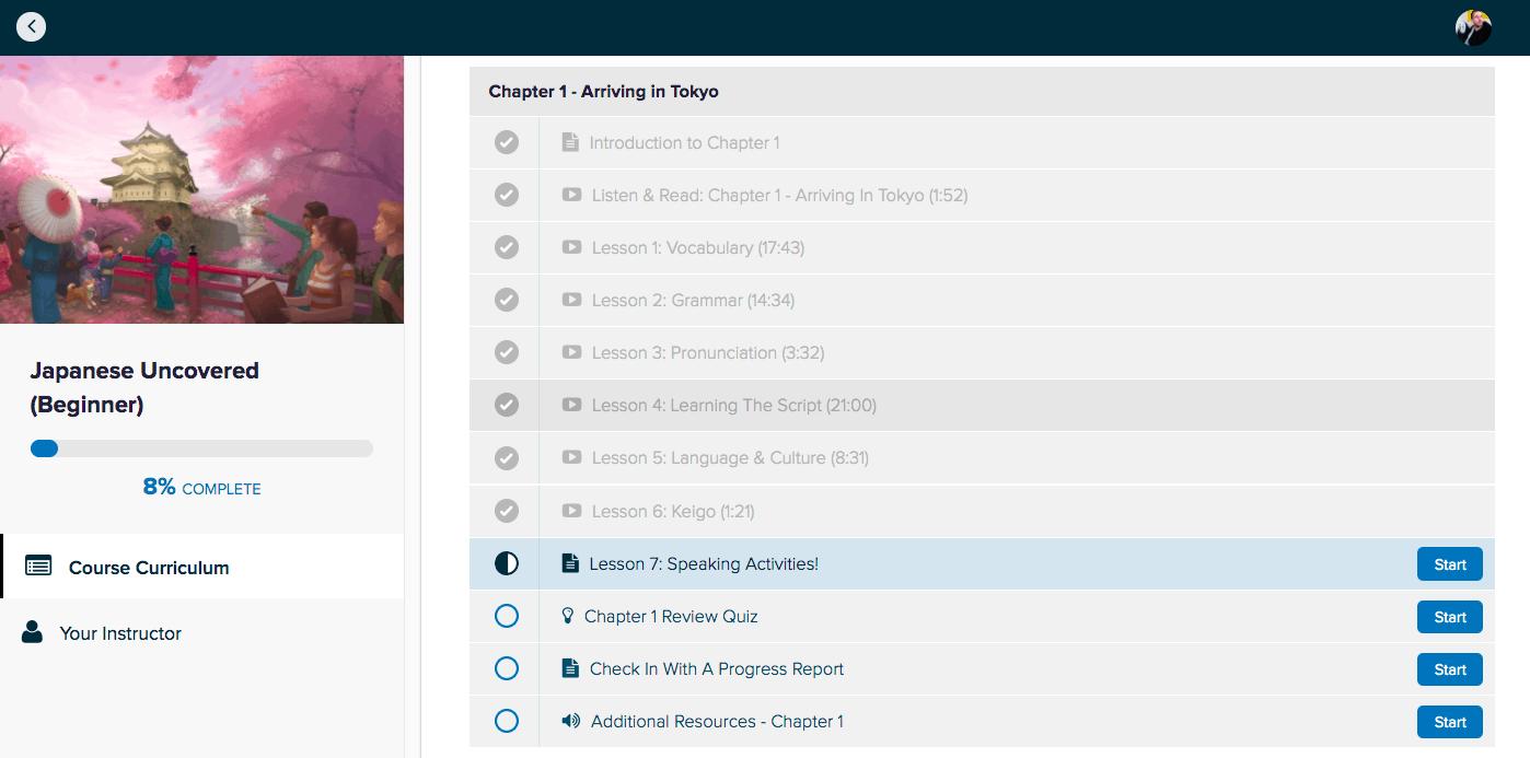 Japanese Uncovered Dashboard Screenshot